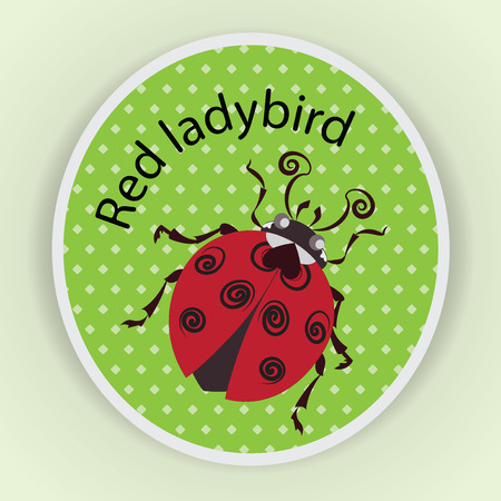 Red ladybug. Sticker. Stylized images of a ladybug on a green background, a cute baby character, a symbol.