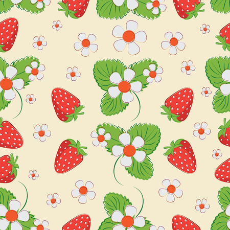 Strawberry pattern on a light background. Seamless pattern of berries, leaves and strawberry flowers.