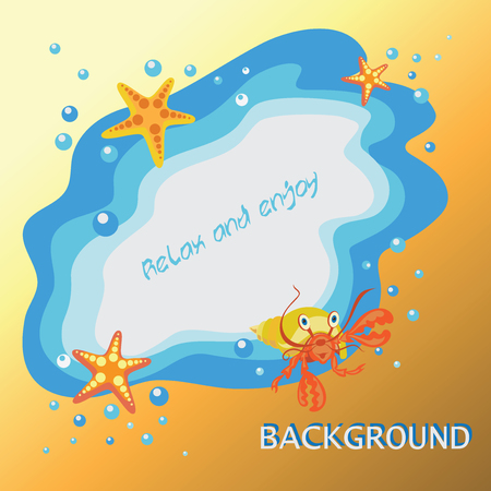 Abstract beach background with the words Relax and enjoy. Yellow-orange background. The sea, a hermit crab and starfish. Banner design, poster with childrens characters cartoon sea creatures.