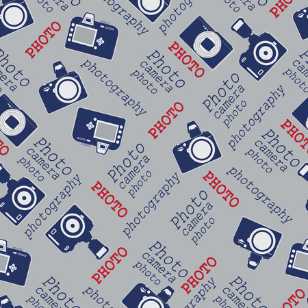 autograph: Vintage cameras. Background composition. Seamless pattern with cameras and words. Design for textiles, tapestries, packaging materials.
