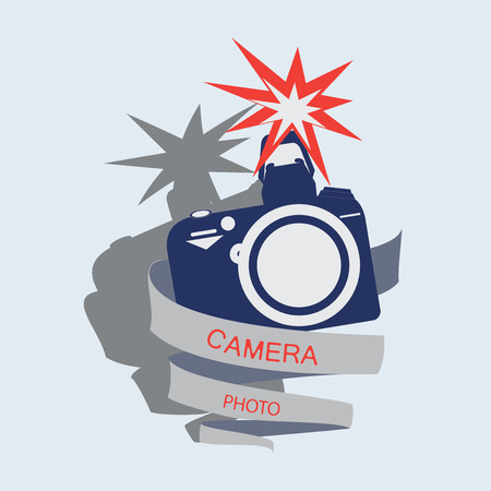 autograph: Camera with flash and a ribbon with the words Camera, photo. Emblem, label, icon. Vector image for photogate, makers, design themed website.