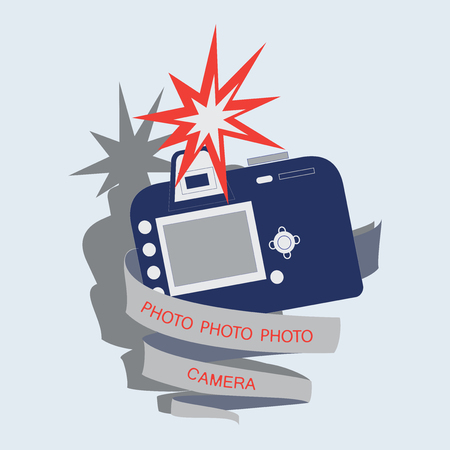 Camera, flash and tape with text. Emblem, label, icon. Vector image for photogate, makers, design themed website.