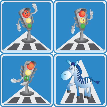 Semáforo de dibujos animados y el icono de la insignia de cebra. Foto de archivo - 81502175