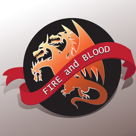 Three-headed dragon and a tape with the words FIRE and BLOOD.