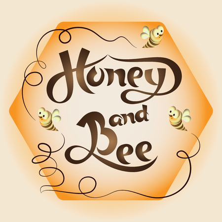 Honeycomb with bees and the words Honey and bees. Lettering. Honeycomb with handwritten inscription and stylized bees. Composition for the product design of beekeepers and the food industry.