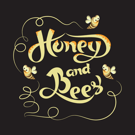 Plakat mit den Bienen und der Aufschrift HONIG UND BIENEN. Schriftzug, handschriftliche Inschrift und stilisierte Bienen. Zusammensetzung für das Produktdesign von Imkern und der Lebensmittelindustrie. Standard-Bild - 82558135
