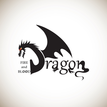 Dragon from letters on a light background. Stylized inscription. Handwritten phrase. The element of graphic design the printing on t-shirts. Vector image. Sign, logos for printing on fabric or paper.