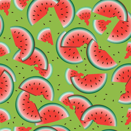 harvest time: Watermelon red on a green background. Seamless pattern. The slices of watermelon on a green background. Background image. Design for farm products, textiles and packaging materials.
