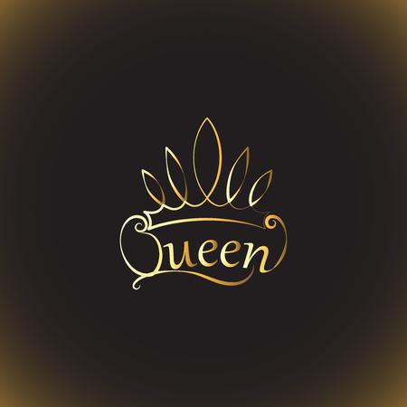 Golden crown and the words Queen design illustration Ilustração