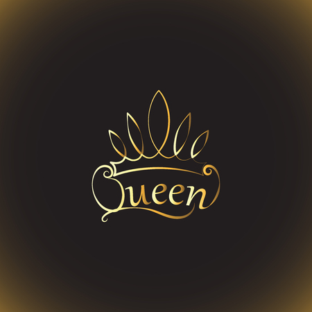 Golden crown and the words Queen design illustration Illustration