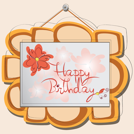 Happy Birthday. Picture. The frame on the wall. Stylized wooden frame with a pattern, and more. Illustration