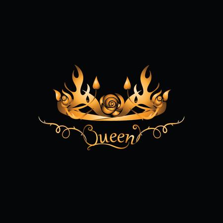 Gold tiara for the QUEEN. Emblem. Abstract luxury, royal golden company logo icon vector design. Elegant crown, tiara, diadem premium symbo