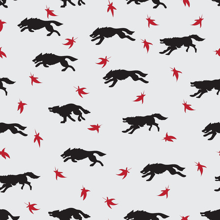 Running wolves. Red leaves. Seamless pattern. Design for printing on fabric or paper. Vector image.