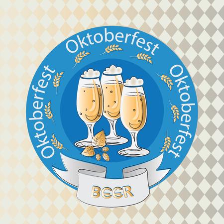 Oktoberfest. Beer and hops. Emblem, logo, badge, sticker. Design for printing on paper, textiles or ceramics.