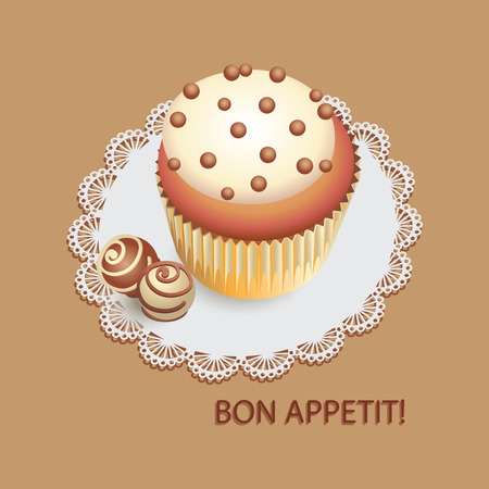 Cupcake with chocolate drops and candies. Composition on a lace napkin. Design for decorating menu, banner, poster.
