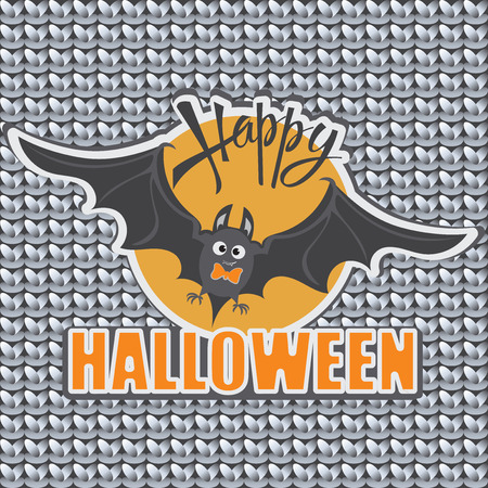 autumn background: Bat. Orange sun. Happy Halloween. Emblem, sticker for the holiday on a gray knitted background. Design for childrens clothes decoration