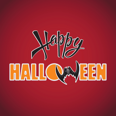Happy Halloween. Inscription on a red background. Design of the message. Banner, poster. Festive calligraphy with a banner, poster, greeting card, invitation to a party. Isolated illustration. Illustration