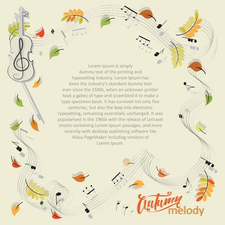 Mélodie d'automne. Violon, notes, feuilles. Chute des feuilles. Composition abstraite avec une place pour le texte, le violon, les notes et les feuilles d'automne. Vecteurs