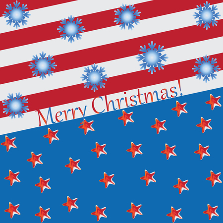 Stars and snowflakes on blue and red background. Abstract composition with elements of American symbols. Design for greetings, holiday screensavers.