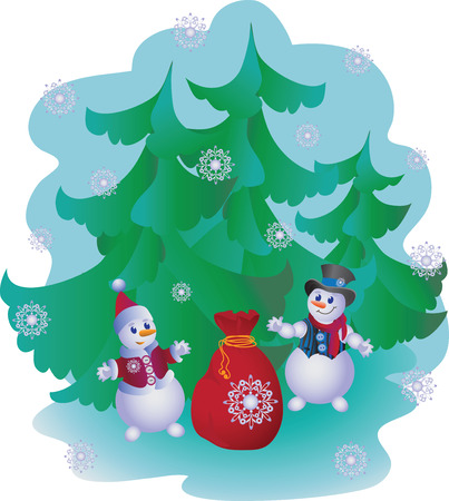 red nose: Snowmen with gifts. Illustration