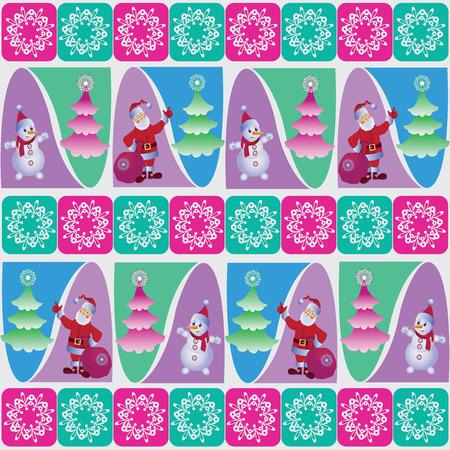 Snowman and Santa near the Christmas tree.