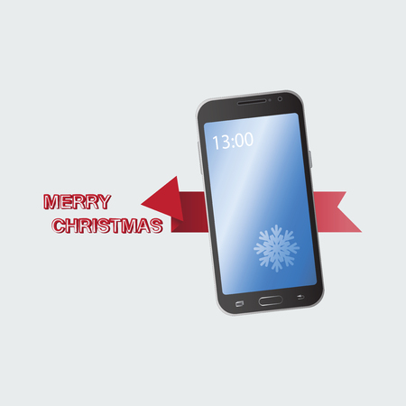 Mobile phone. MERRY CHRISTMAS. Congratulation. Gift. Offer of the transaction. Concept of notice of sale, e-commerce, delivery service. Icon of modern design.