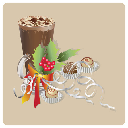 Christmas coffee latte with cream and a Christmas branch of holly. Composition on a lace napkin. Design for Christmas greeting, decorating menu, banner, poster. Illustration