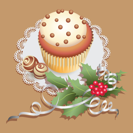 Cupcake with chocolate sweets and Christmas branch of holly. Composition on a lace napkin. Design for Christmas greetings, decorating menus, banners, posters.