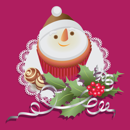 Snowman. Cupcake with chocolate sweets and Christmas branch of holly. Composition on a lace napkin. Design for Christmas greetings, menu decoration, banners, posters. Illustration