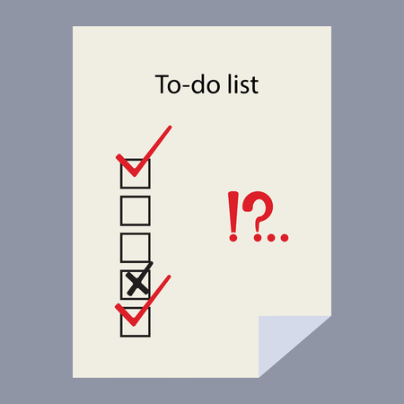 To-do list theme. Check list. Check marks and check boxes. To do list isolated on white background. Interrogative and exclamation marks.