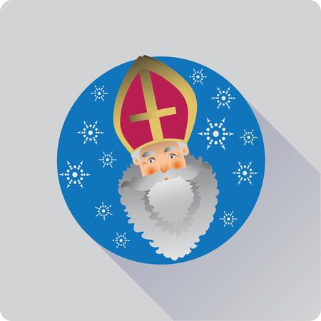 Saint Nicolas icon flat design. Vector image of a flat icon.