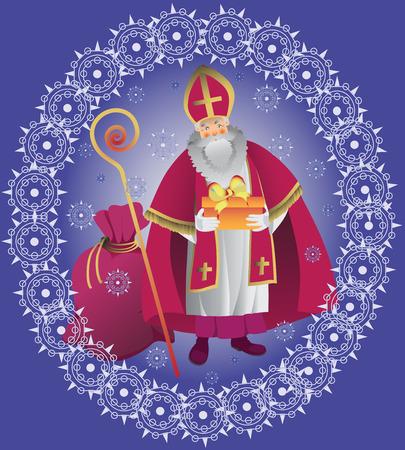 St. Nicholas. Design greeting cards, poster. Vector illustration.