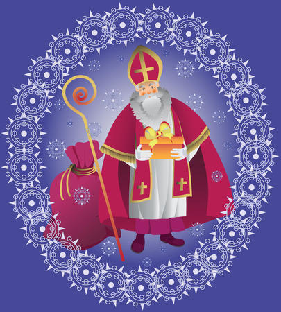 St. Nicholas. Design greeting cards, poster. Vector illustration.