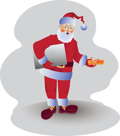Santa Claus with laptop and gift, vector illustration. Design for poster, banner, leaflets, greeting cards and more.