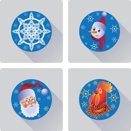 クリスマス フラット アイコンのセットです。サークルに青色の背景で構成。
