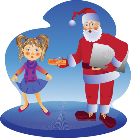 Santa Claus and a girl, vector illustration. Design for poster, banner, leaflets, greeting cards and more.
