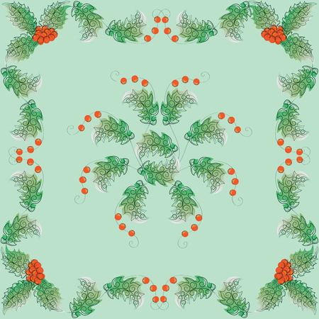 Holly lace. The leaves and berries. The pattern in the square. Design for textiles, napkins, wall hangings, wrapping paper. Illustration