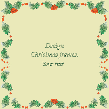 Holly on a yellow background. Vector image. Design Christmas frames for presentations, title sequences, wipes. Иллюстрация