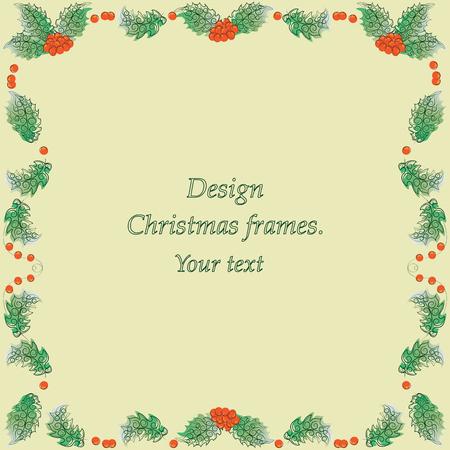 Hulst op een gele achtergrond. Vector afbeelding. Ontwerp kerstframes voor presentaties, titelreeksen, doekjes.