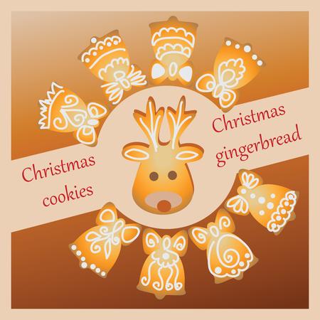 Bells and reindeer illustration. Stock Illustratie