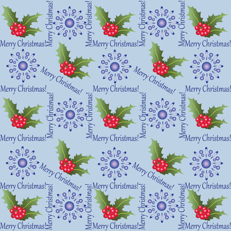 Holly and snowflakes pattern. Illustration