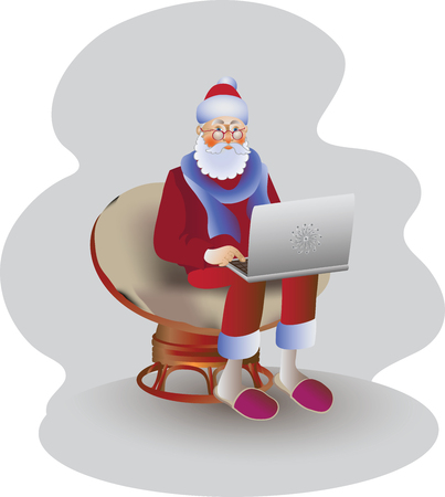 Father Christmas with a laptop. Vector image. Design for poster, banner, leaflets, greeting cards, flyers