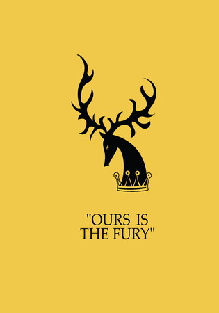 Silhouette of a deer head. Vector image with text. Design banners, icons for a website, printed on fabric or paper.