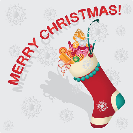 Christmas sock with gifts. Vector image. Design for poster, banner, greeting cards, flyers.