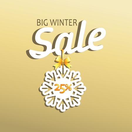 BIG WINTER SALES, Message, Emblem, poster, banner for a good deal Design for printing on paper or paper. Çizim