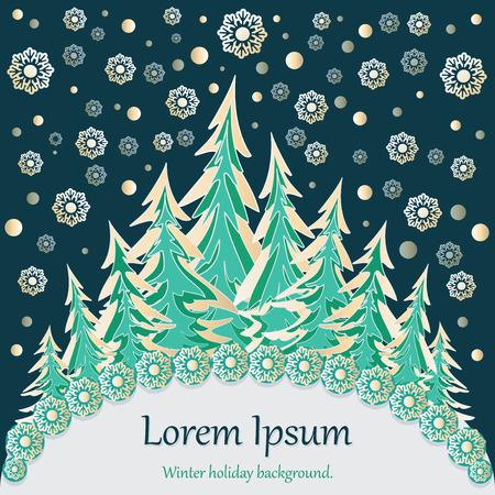 Winter forest. Celebratory background. Design for a banner, poster, postcard, invitation, concert program with space for text Ilustração