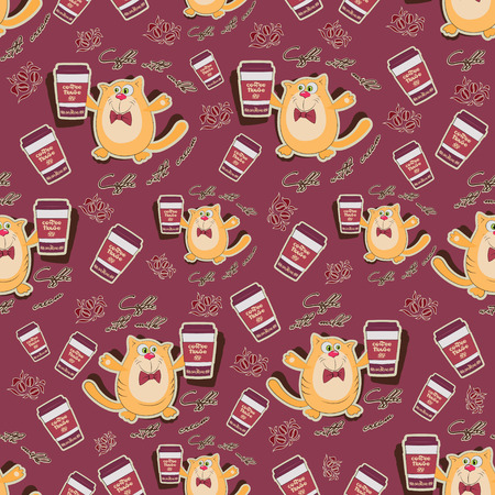 Orange cat and coffee seamless pattern. Design for the coffee house menu, background image for textiles, wrapping paper.
