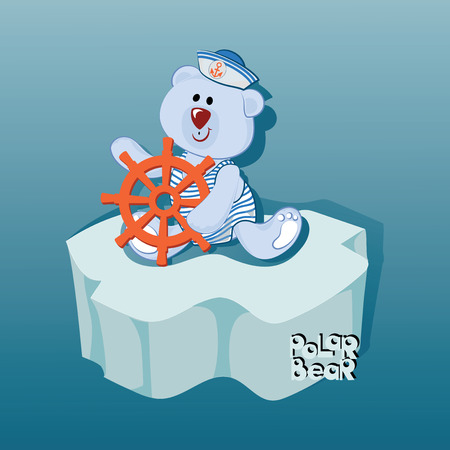 Small sailor bear on an ice floe. Emblem, banner, poster with a polar bear. Design for printing on fabric or paper. Illustration for children's book in cartoon style. Illustration