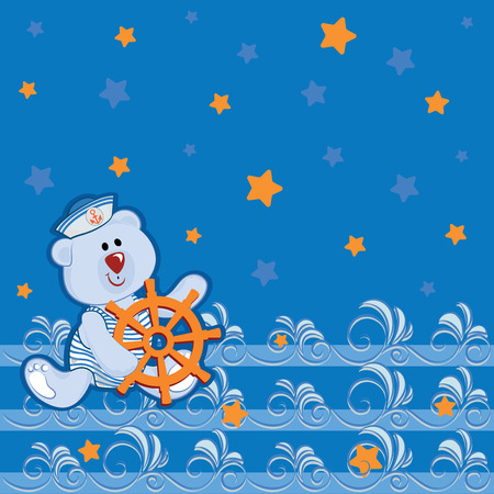 Llittle polar teddy-bear with a steering wheel. Poster with a small bear, a starry sky and an openwork sea. Design for childrens clothing, printing on fabrics, clothing surfaces for children
