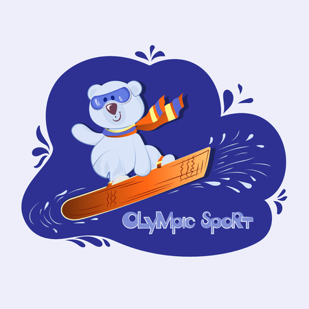White bear cub on snowboard.  Colorful illustration of cute teddy bear with snowboard. Hand drawn animal cartoon banner. Baby winter holidays greeting card.
